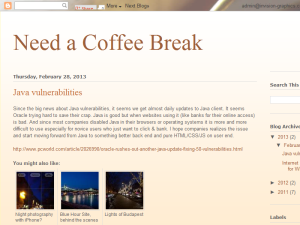 Need a Coffee Break Blogging Fusion Blog Directory