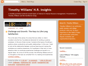 Timothy Williams' HR Insights Blogging Fusion Blog Directory
