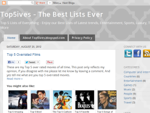 Top5ives - The Best Lists Ever Blogging Fusion Blog Directory