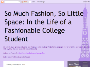 So Much Fashion, So Little Space Blogging Fusion Blog Directory