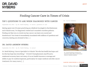 Dr. David Nyberg - Finding Cancer Care in Times of Crisis Blogging Fusion Blog Directory