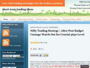Low risk trading strategies for the Indian markets Blogging Fusion Blog Directory