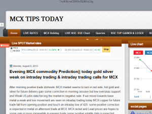 MCX TIPS TODAY