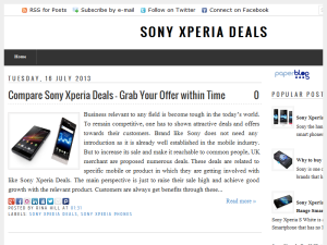 Sony Xperia Deals Blogging Fusion Blog Directory