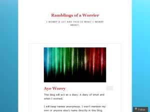 Ramblings of a Worrier Blogging Fusion Blog Directory