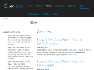 Six Ticks CRM Blog Blogging Fusion Blog Directory