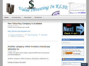 Value Investing In KLSE Blogging Fusion Blog Directory