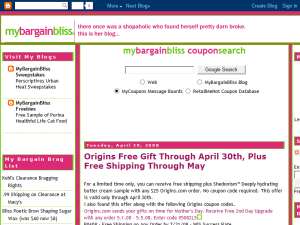 MyBargainBliss Blogging Fusion Blog Directory