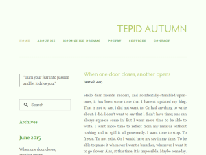 tepid autumn Blogging Fusion Blog Directory