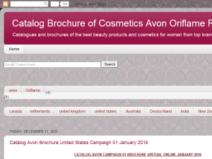 Catalog Brochure of Cosmetics Avon Oriflame Revlon Virtual Online