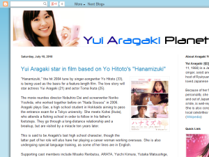Yui Aragaki Planet Blogging Fusion Blog Directory