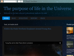 The purpose of life in the Universe Blogging Fusion Blog Directory