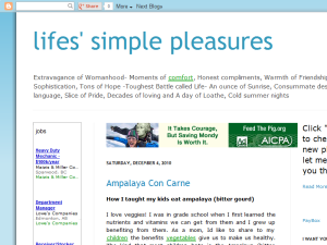 life's simple pleasures Blogging Fusion Blog Directory