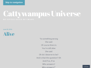 Cattywampus Universe Blogging Fusion Blog Directory