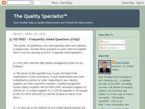 The Quality Specialist Blogging Fusion Blog Directory