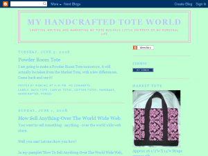 My Handcrafted Tote World Blogging Fusion Blog Directory