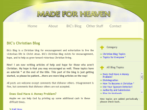 BiC's Blog on Made For Heaven Blogging Fusion Blog Directory