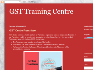 GST Centre Franchisee Blogging Fusion Blog Directory