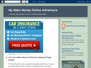 My Make Money Online Adventure Blogging Fusion Blog Directory