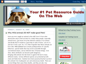 Your #1 Pet Resource Guide on the Web Blogging Fusion Blog Directory