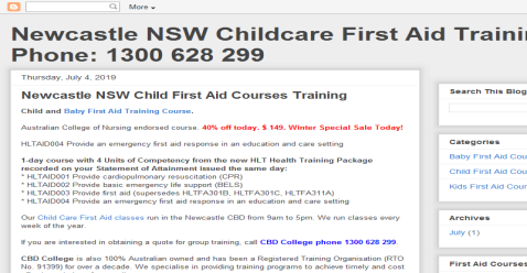Newcastle NSW Child First Aid Blogging Fusion Blog Directory