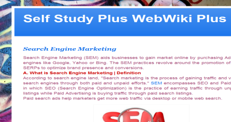Self Study Plus WebWiki Education Online Blogging Fusion Blog Directory
