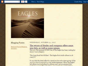New Eagles Album Blogging Fusion Blog Directory