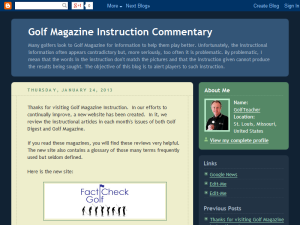 Golf Magazine Instruction Commentary Blogging Fusion Blog Directory