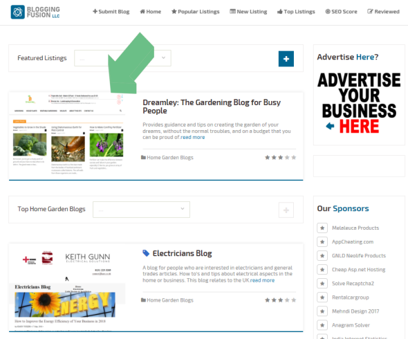 Blogging Fusion : Featured Listing